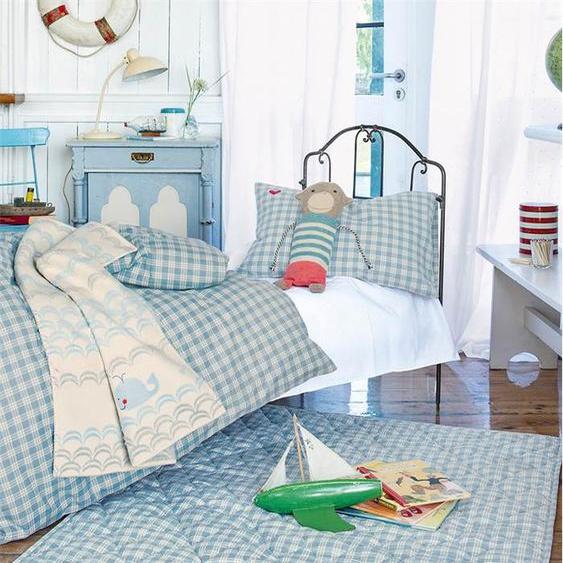Krabbeldecke blau kariert - Hellblau/Weiß - Decke: 100 % Baumwolle; Füllung: Polyester - Tagesdecken & Quilts - Überwürfe & Sofaüberwürfe