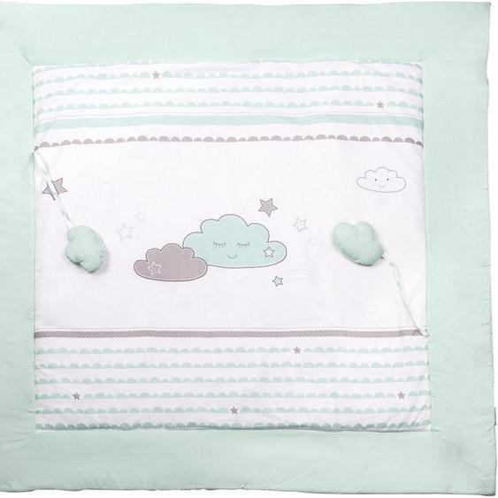 Krabbeldecke Happy Cloud, roba 100x100 cm, Baumwolle-Polyester grün Baby Krabbeldecken Babymöbel Wohndecken