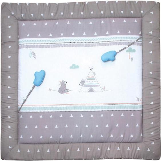 Krabbeldecke Indibär, roba 100x100 cm, Polyester-Baumwolle bunt Baby Krabbeldecken Babymöbel Wohndecken