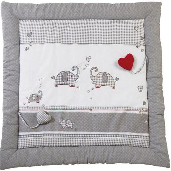 Krabbeldecke Jumbotwins, roba 100x100 cm, Baumwolle-Polyester grau Baby Krabbeldecken Babymöbel Wohndecken