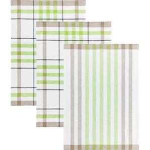 Kracht Geschirrtuch weiß/braun/grün 3er-Pack