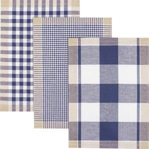 Kracht Halbleinen Geschirrtuch mit Karomuster creme/beige/blau 3er-Pack