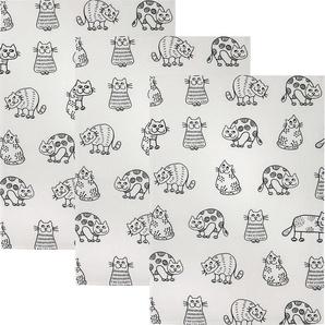 Kracht Halbleinen Geschirrtuch mit Katzen-Druck 3er-Pack