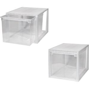KREHER Aufbewahrungsbox »2x 50 Liter, mit Schubladen« 2er Set