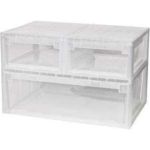 KREHER Aufbewahrungsbox »2x 12 Liter, 1x 36 Liter, mit Schubladen« 3er Set