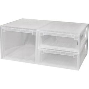 KREHER Aufbewahrungsbox »1x 50 Liter, 2x 22 Liter, mit Schubladen« 3er Set