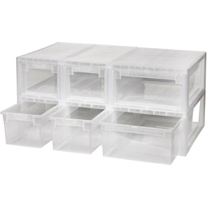 KREHER Aufbewahrungsbox »4x 7 Liter, 2x 12 Liter, mit Schubladen« 6er Set