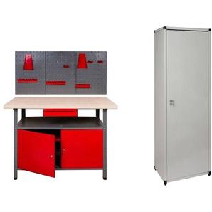 KREHER Werkbank , 120 cm, 2x Tür, 1x Werkstattschrank, 1x Werkzeugwand