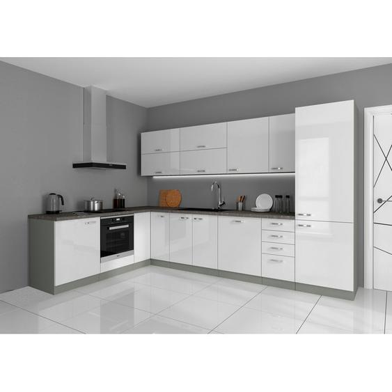 Küchen Preisbombe - Küche Bianca Ecke I 210x330 cm Küchenzeile in Hochglanz weiß Küchenblock