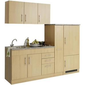Küche für Singles inkl. Kühlschrank TERAMO-03 Buche Dekor B x H x T ca. 210 x 200 x 60cm