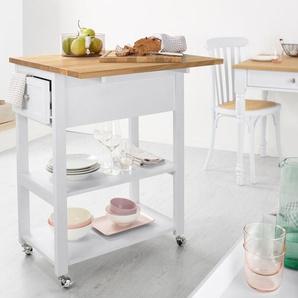 Küchen-Arbeits-Servierwagen - silber - Holz -