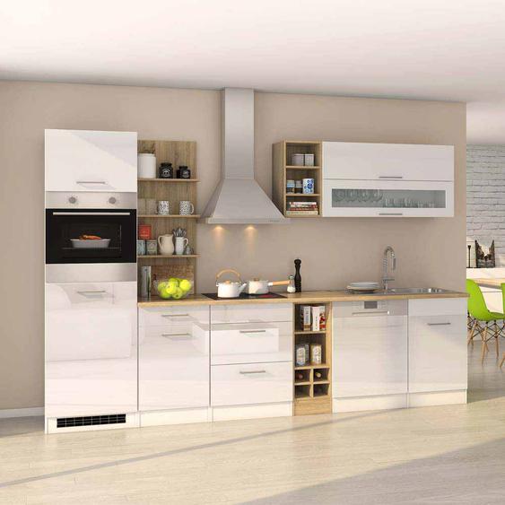 Küchen Einrichtung mit E-Geräten Hochglanz Weiß Eiche Sonoma (13-teilig)