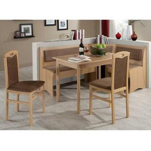 Küchen Sitzecke in Braun Stoff Buche (4-teilig)