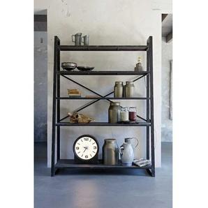 K�chen Standregal im Loft Style Schwarz Metall