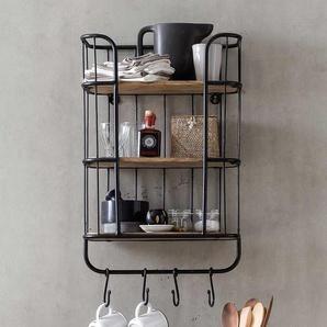 Küchen Wandregal aus Mangobaum Massivholz und Metall 45 cm breit