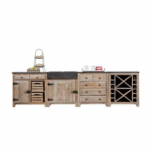 Küchenblock aus Kiefer Recyclingholz Rustikal (4-teilig)
