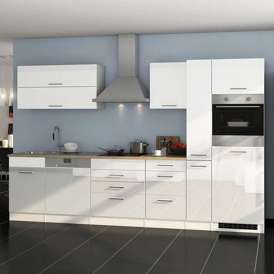 Küchenblock in Hochglanz Weiß Elektrogeräten (13-teilig)