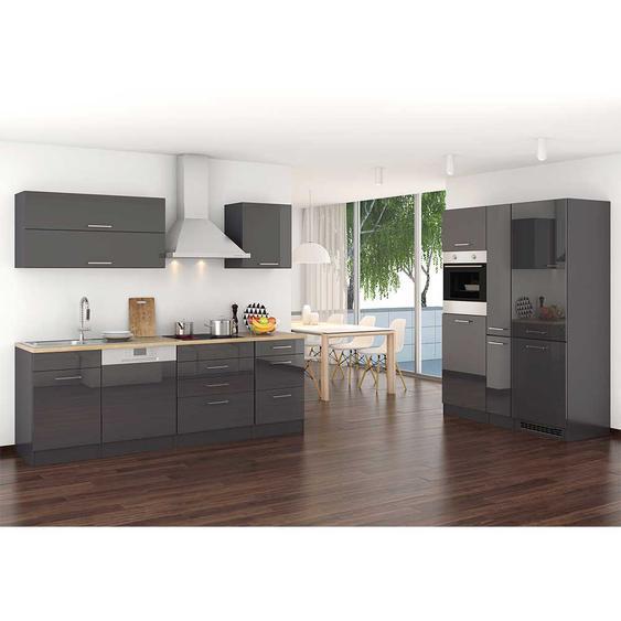 Küchenblock mit Elektrogeräten Grau Hochglanz (14-teilig)
