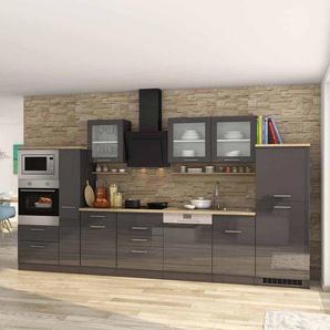 Kücheneinrichtung in Grau Hochglanz Eiche Sonoma mit Geräten (siebzehnteilig)