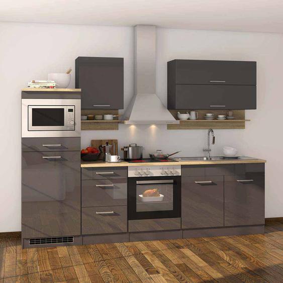 Kücheneinrichtung in Grau Hochglanz mit Elektrogeräten (12-teilig)