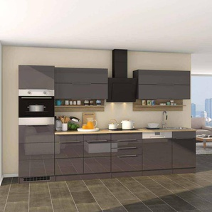 Kücheneinrichtung in Grau Hochglanz Sonoma Eiche E-Geräte (13-teilig)