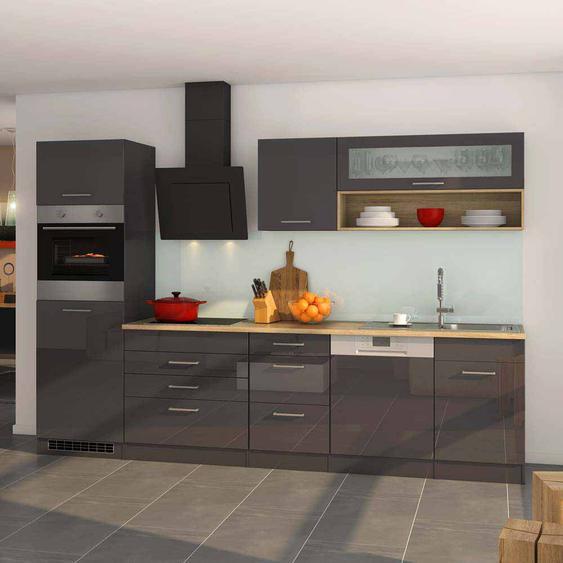 Kücheneinrichtung in Grau Hochglanz Sonoma Eiche mit Geräten (12-teilig)