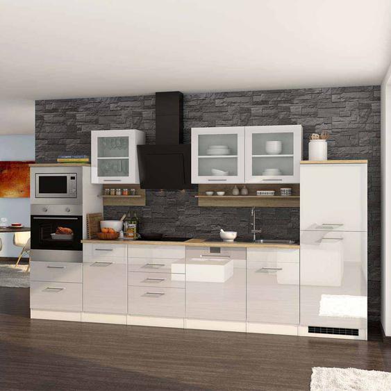 Kücheneinrichtung in Weiß Hochglanz Sonoma Eiche E-Geräte (16-teilig)