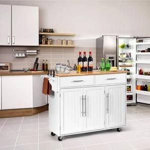 Kücheninsel Servierwagen Küchenwagen mit Rollen Weiß 122 x 46 x 92,3 cm