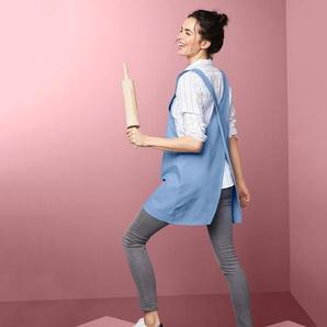 Küchenschürze - blau - 100% Baumwolle -