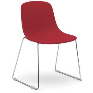 K�chenstuhl Set mit Schalensitz in Rot Metallb�geln (2er Set)