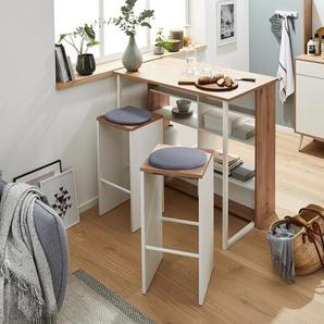 Küchentresen-Set mit Hockern - braun - Holz -