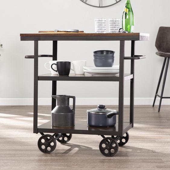 Küchenwagen Elystan mit Massivholz- und Holzwerkstoffplatte