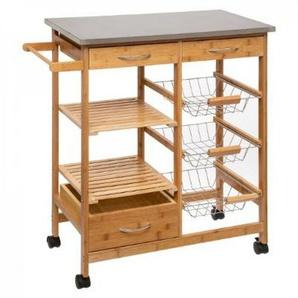 Küchenwagen Servierwagen Holz Bambus Rollwagen Küchentrolley