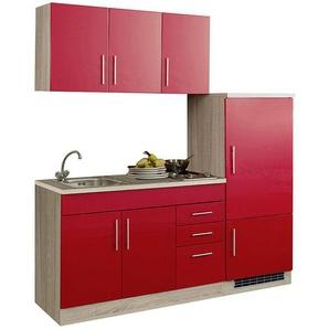 Küchenzeile für Singles mit Kühlschrank TERAMO-03 Hochglanz Rot B x H x T ca. 180 x 200 x 60cm