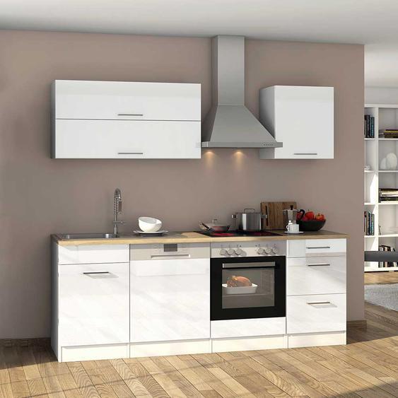 Küchenzeile in Hochglanz Weiß Elektrogeräten (11-teilig)