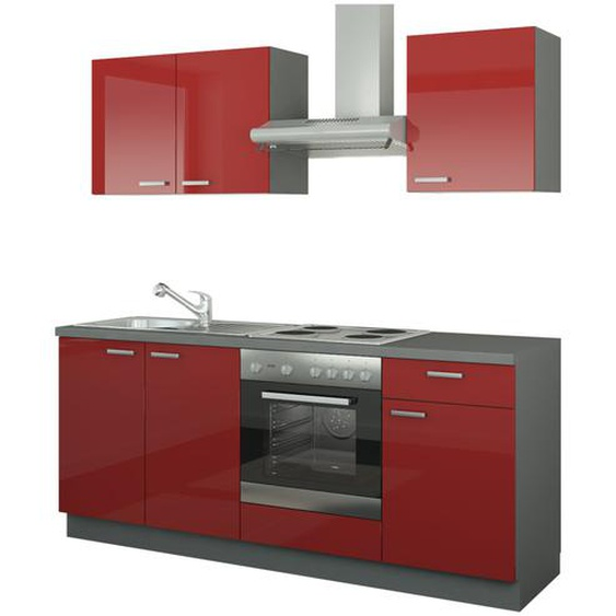 Küchenzeile mit Elektrogeräten  Ahlen ¦ rot ¦ Maße (cm): B: 200