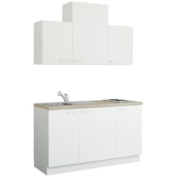 Küchenzeile mit Elektrogeräten  Aue ¦ weiß ¦ Maße (cm): B: 150