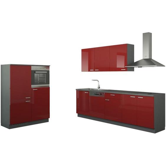 Küchenzeile mit Elektrogeräten  Cottbus ¦ rot ¦ Maße (cm): B: 390