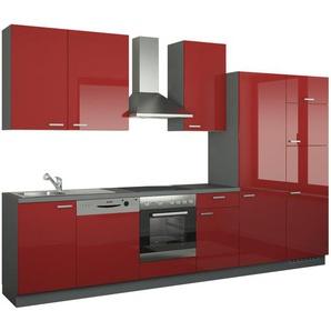 Küchenzeile mit Elektrogeräten  Dortmund ¦ rot ¦ Maße (cm): B: 340