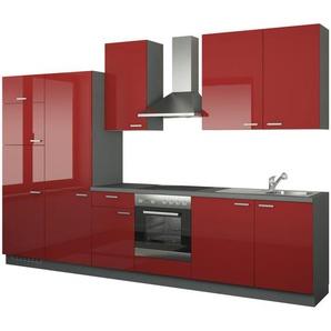 Küchenzeile mit Elektrogeräten  Duisburg ¦ rot ¦ Maße (cm): B: 340