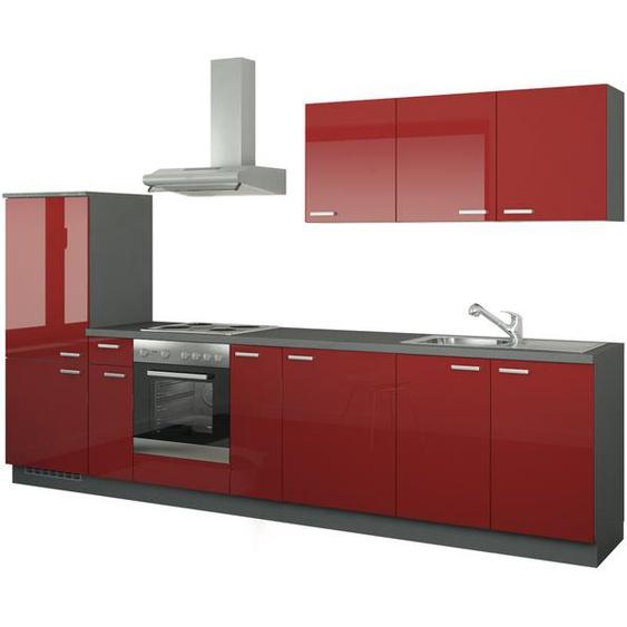 Küchenzeile mit Elektrogeräten  Fulda ¦ rot ¦ Maße (cm): B: 330