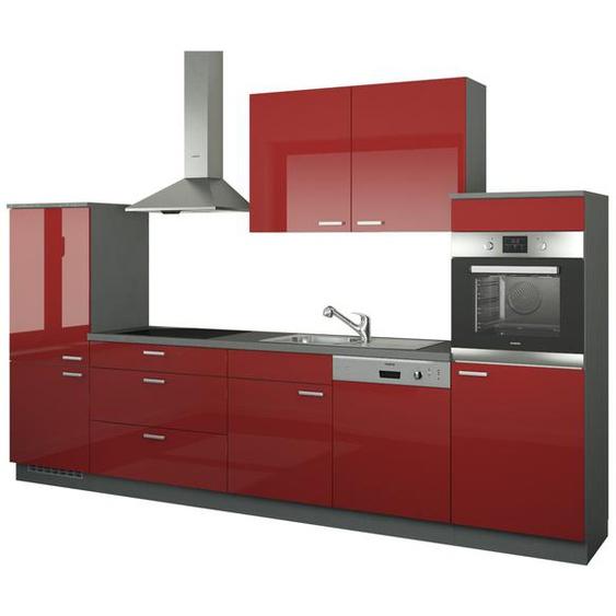 Küchenzeile ohne Elektrogeräte  Neuss ¦ rot ¦ Maße (cm): B: 330