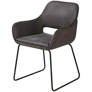 Kufenstuhl  Till ¦ grau ¦ Maße (cm): B: 56,5 H: 82 T: 59 Stühle  Esszimmerstühle  Esszimmerstühle mit Armlehnen » Höffner