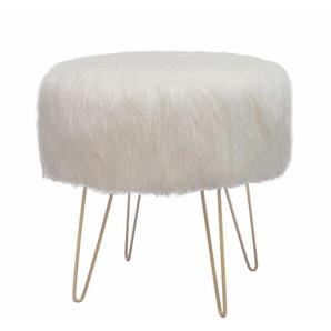 Kunstfellhocker in Creme Weiß rund