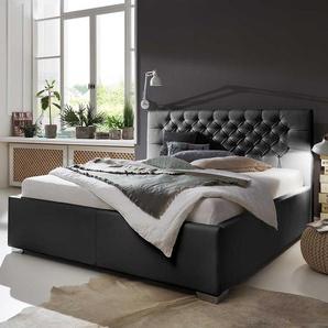 Kunstleder Bett in Schwarz gestepptem Kopfteil