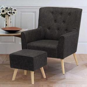 Kunstleder Sessel in Grau Retro Style (2-teilig)