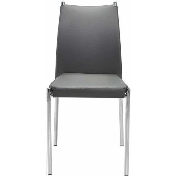 Kunstleder Stühle in Grau verchromtem Metallgestell (4er Set)