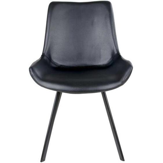 Kunstleder Stühle in Schwarz Metallgestell (2er Set)