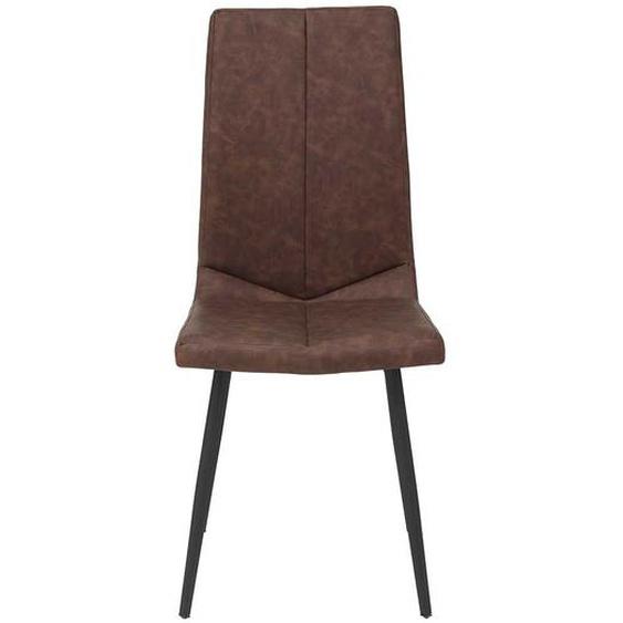 Kunstlederstühle in Braun und Schwarz hoher Lehne (Set)
