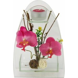 Kunstpflanze »Orchidee mit Teelichthalter 23/15 cm«